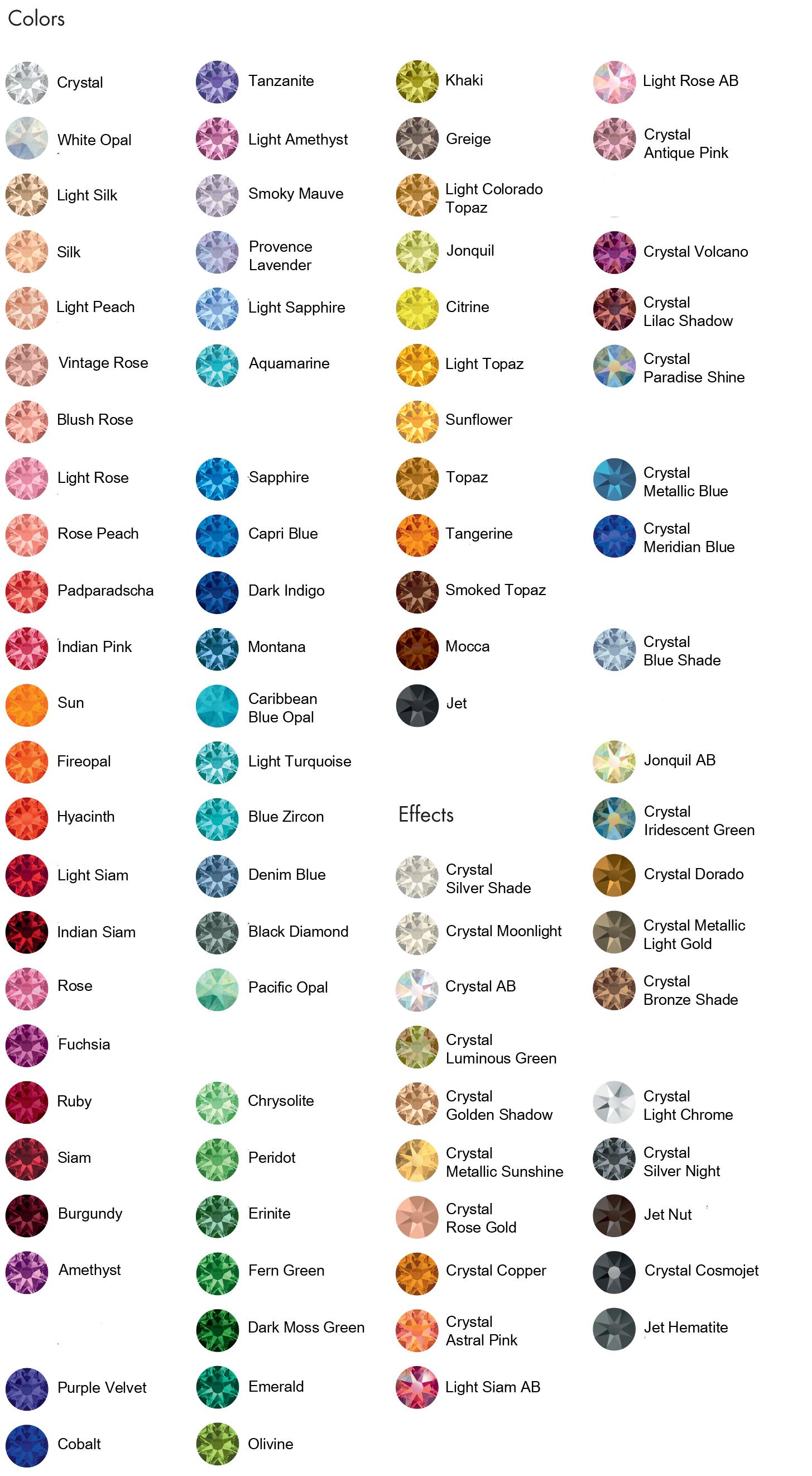 3149d14f2 swarovski crystal rhinestones flat back hotfix colors